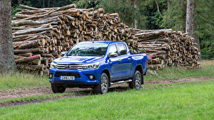 Hintergrundbilder Toyota Pick-up Metallisch Blau 2016 Hilux Invincible Double Cab Autos