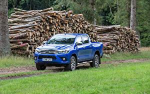Hintergrundbilder Toyota Pick-up Metallisch Blau 2016 Hilux Invincible Double Cab Autos