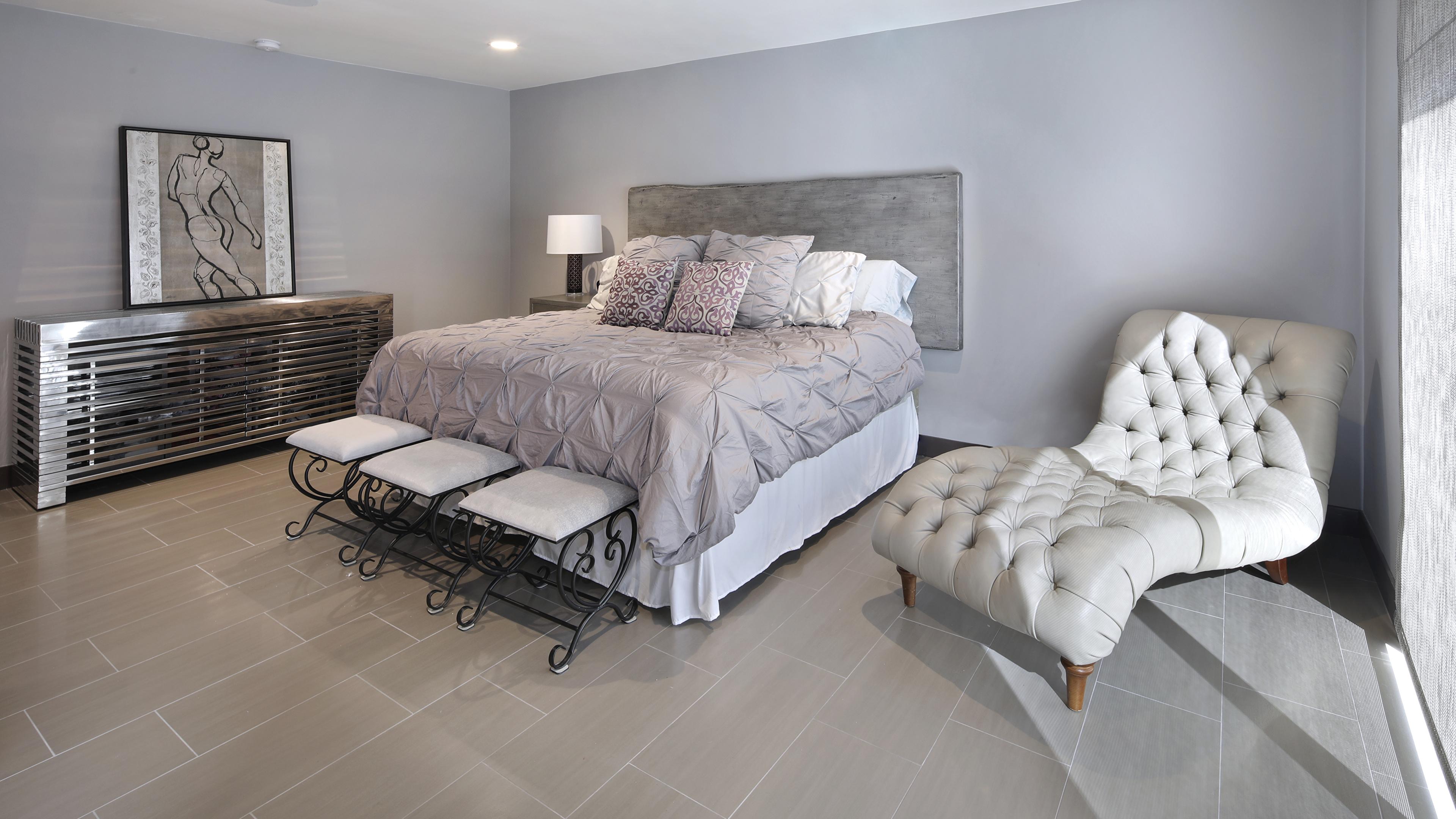 Fotos Schlafzimmer Innenarchitektur Bett Sessel Design 3840x2160