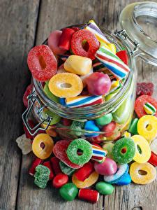 Bilder Bonbon Süßware Marmelade Bretter Weckglas Sweet Jelly Candies Lebensmittel