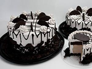 Fotos Süßigkeiten Torte Schokolade Grauer Hintergrund Design Drei 3 Lebensmittel
