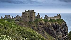 デスクトップの壁紙、、海岸、スコットランド、城、廃墟、岩石、草、Dunnottar Castle、自然