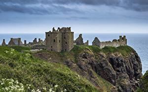 Fotos Küste Schottland Burg Ruinen Felsen Gras Dunnottar Castle Natur
