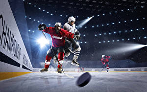 Pictures Hockey Men Ice rink Rays of light Uniform Sport