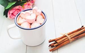 Images Cinnamon Valentine's Day Heart Mug Marshmallow Food