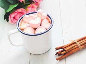 Papéis de parede Canela Dia dos Namorados Coração Caneca Marshmallow comida