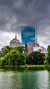 Bilder Boston Vereinigte Staaten Haus Teich Bäume Wolke Städte