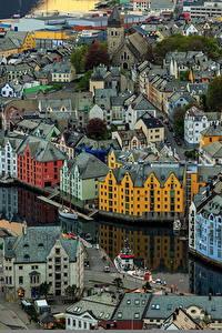 Bilder Haus Norwegen Von oben Aksla Alesund Städte