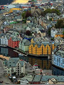 Bilder Gebäude Norwegen Von oben Aksla Alesund Städte