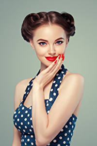 Image Gray background Brown haired Glance Red lips Manicure Hands Girls