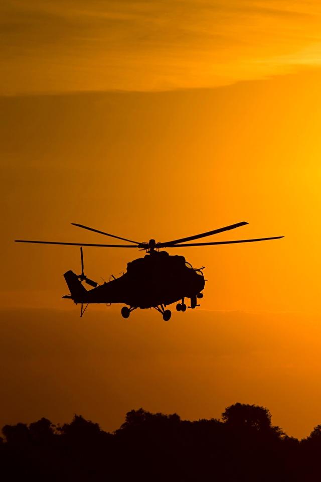 640x960、ヘリコプター、Mil Mi-24、シルエット、ロシアの、航空