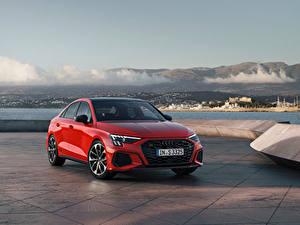 Hintergrundbilder Audi Rot Metallisch S3 Sedan, 2020 automobil