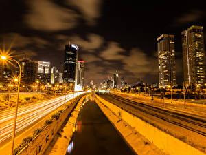 Hintergrundbilder Israel Haus Wege Eisenbahn Kanal Nacht Straßenlaterne Tel Aviv