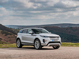Fonds d'écran Land Rover Blanc Métallique Crossover 2019 Evoque P300 HSE R-Dynamic Black Pack Voitures