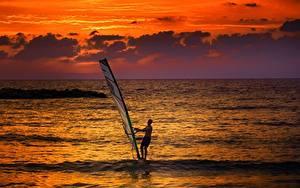 Image Sunrise and sunset Men Sea Surfing Horizon Windsurfing athletic