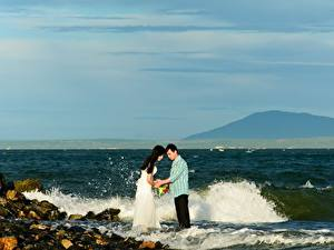 Photo Coast Stones Waves Man Asian 2 Bride Groom Marriage Nature Girls