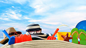 Fotos Sommer Seesterne Der Hut Brille Flipflop Sand