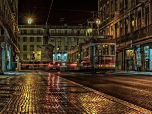 Bilder Portugal Haus Denkmal Straße Nacht Straßenlaterne Lissabon