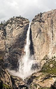Bilder USA Gebirge Wasserfall Park Kalifornien Felsen Yosemite Sierra Nevada, Yosemite Falls Natur