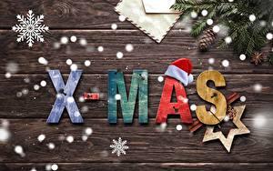 Hintergrundbilder Neujahr Schneeflocken Ast Zapfen Stern-Dekoration Englisch Bretter Mütze