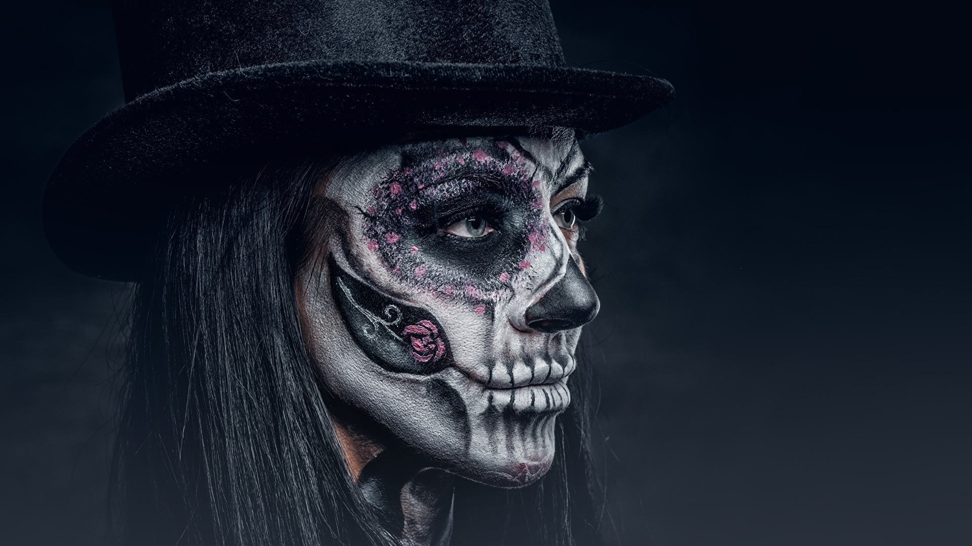 Pictures Makeup Day Of The Dead Hat Face Female Holidays 1920x1080