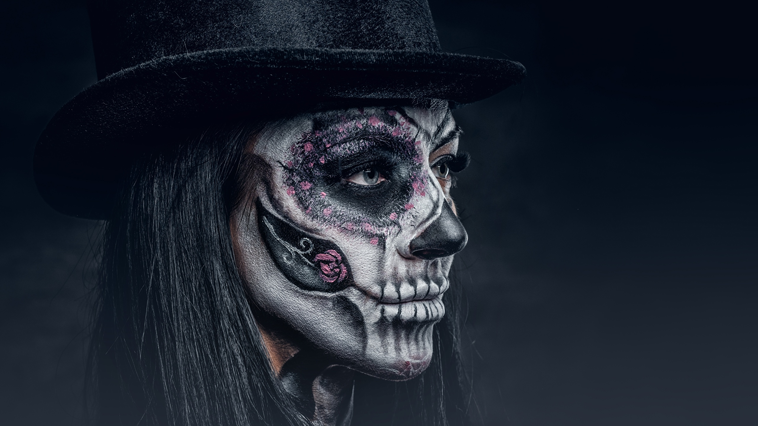 Pictures Makeup Day Of The Dead Hat Face Female Holidays 2560x1440