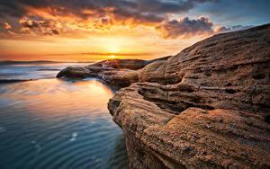 Bilder Bulgarien Küste Sonnenaufgänge und Sonnenuntergänge Landschaftsfotografie Himmel Ravda
