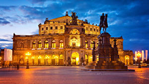 Hintergrundbilder Deutschland Dresden Haus Denkmal Abend Platz Straßenlaterne
