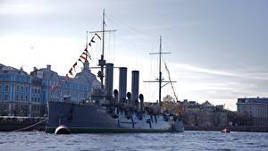 Photo Rivers Ships Russia St. Petersburg Cruiser Aurora Cities