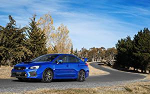 Hintergrundbilder Subaru Blau Metallisch 2017 WRX STI