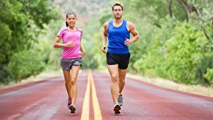 Images Man 2 Physical exercise Running Uniform Girls Sport