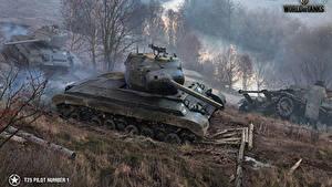 Fotos WOT Panzer Amerikanische Schlamm T25 Pilot Number 1 computerspiel