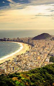 Hintergrundbilder Brasilien Küste Berg Himmel Ozean Rio de Janeiro Von oben Copacabana Beach Städte