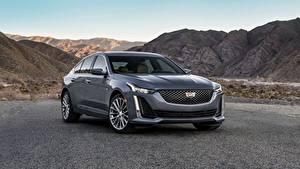 Hintergrundbilder Cadillac Graues Metallisch Limousine CT5, 2020 automobil