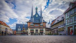 Bakgrundsbilder på skrivbordet Tyskland Hus Klocka Ett torg Wernigerode stad