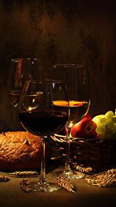 Hintergrundbilder Wein Brot Obst Farbigen hintergrund Weinglas Drei 3 Ähre Lebensmittel