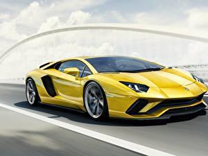 Hintergrundbilder Lamborghini Gelb Bewegung 2017 Aventador S