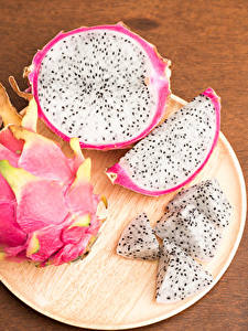 Bilder Obst Messer Pitaya Teller Lebensmittel