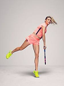 Image Tennis To hit Legs Gray background Eugenie Bouchard Canadian Sport Girls