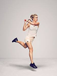 Pictures Tennis Gray background Running Legs WTA Ukrainian Elina Svitolina Sport Girls