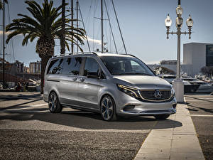 Hintergrundbilder Mercedes-Benz Silber Farbe 2019 Concept EQV Autos