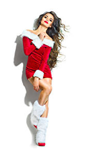 Hintergrundbilder Neujahr Braune Haare Uniform Stiefel Weißer hintergrund Mädchens