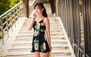 Bilder Asiatische Unscharfer Hintergrund Braunhaarige Hand Kleid junge frau