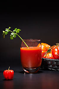 Bilder Tomate Fruchtsaft Weidenkorb Trinkglas Lebensmittel