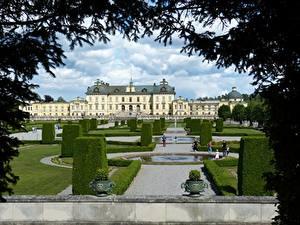 Fotos Parks Springbrunnen Schweden Stockholm Design Palast Ast Strauch Drottningholm Städte