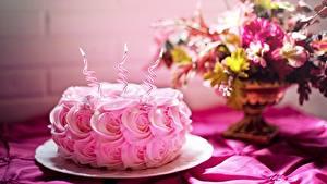 Bilder Geburtstag Torte Rosen Kerzen Flamme Rosa Farbe