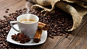 Fotos Kaffee Zimt Dampf Getreide Tasse Untertasse Lebensmittel