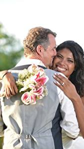 Pictures Lovers Men Bouquets 2 Noces Grooms Bride Brunette girl Smile Hug Hands Negroid young woman