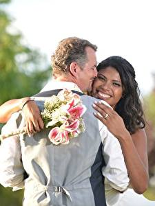 Pictures Lovers Men Bouquets 2 Noces Grooms Bride Brunette girl Smile Hug Hands Negroid Girls