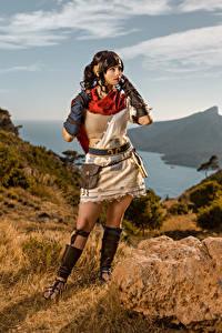 Hintergrundbilder Mikhail Davydov photographer Gebirge Stein Posiert Cosplay Enu, RIME Mädchens Spiele